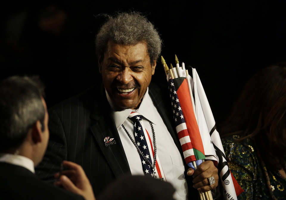 Photo - Boxing promoter Don King arrives for Muhammad Ali's memorial service Friday, June 10, 2016, in Louisville, Ky. (AP Photo/David Goldman)