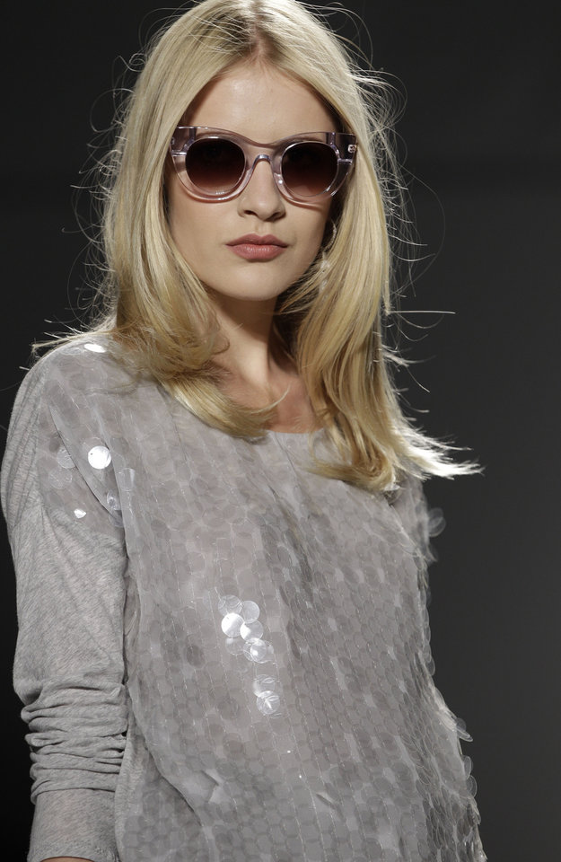 Photo -   A model wears a design from the Rachel Zoe Spring 2013 collection at Fashion Week in New York, Wednesday, Sept. 12, 2012. (AP Photo/Kathy Willens)