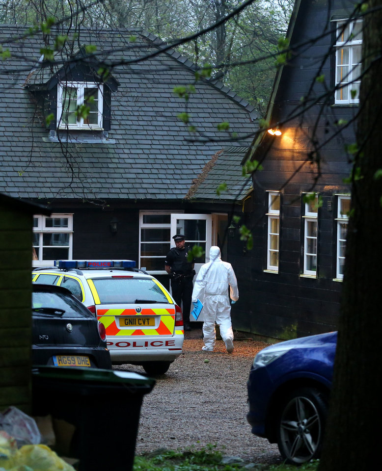 Photo - Police officers attend the home of Peaches Geldof in Wrotham, Kent, Monday, April 7, 2014. Peaches Geldof, the wild-child second daughter of concert organizer Bob Geldof who worked as a model, a television presenter and a fashion writer and filled the pages of British tabloids with her late-night antics, has died at age 25. There was no immediate word on the cause of her death at her home in Wrotham, Kent, southeast England. Her father said in a statement Monday: