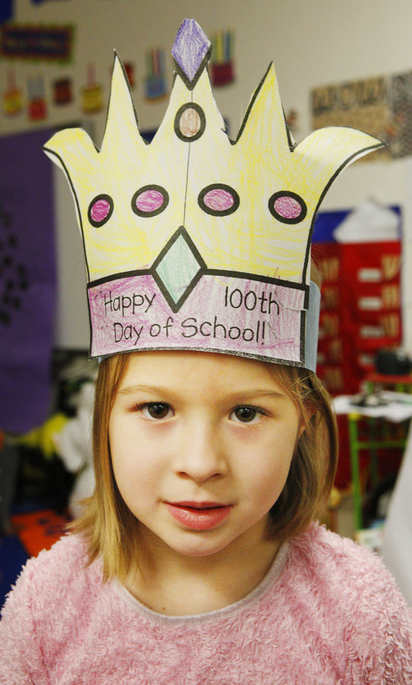 Kindergartner Megan Martin, 5, wore a paper crown to celebrate the 100th day of school at James L. Dennis Elementary School. Photo by Paul B. Southerland, The Oklahoman <strong>PAUL B. SOUTHERLAND - PAUL B. SOUTHERLAND</strong>
