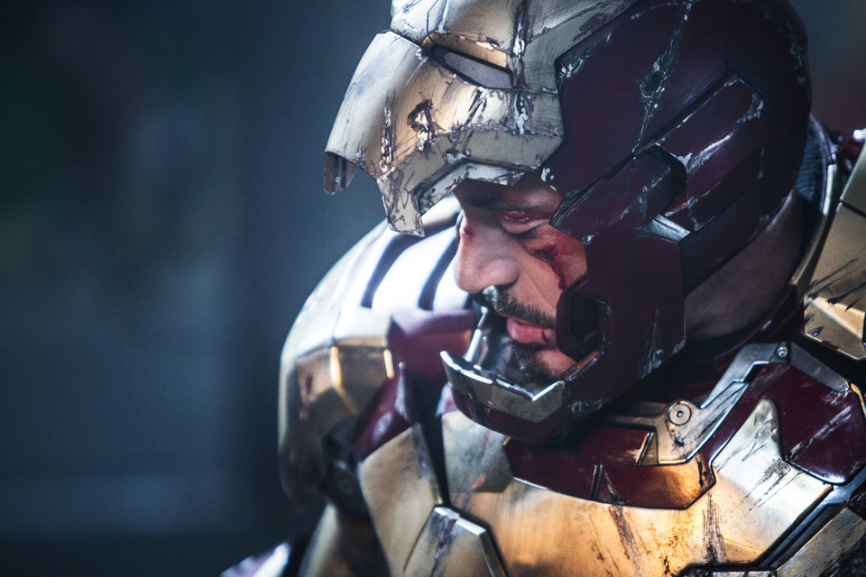 "This undated publicity photo released by Marvel shows Robert Downey Jr. as Tony Stark/Iron Man in a scene from Marvel's ""Iron Man 3."" The movie releases in the USA on May 3, 2013.(AP Photo/Marvel, Zade Rosenthal) <strong>Zade Rosenthal</strong>"