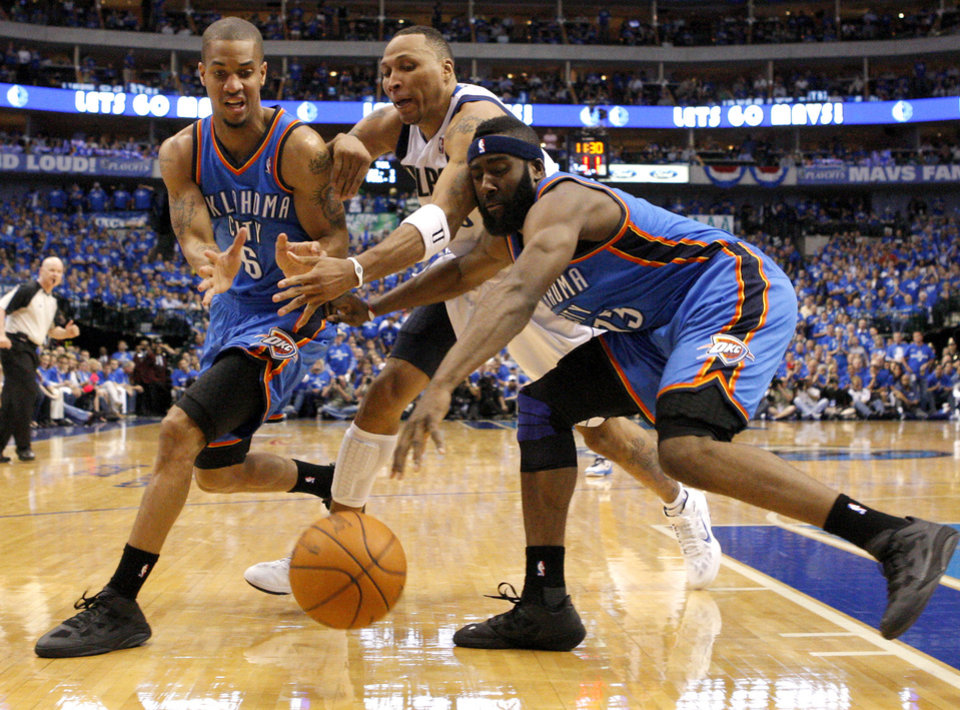 Photo - Oklahoma City's Eric Maynor (6) and  James Harden (13) go for the ball between Shawn Marion (10) of Dallas  during game 1 of the Western Conference Finals in the NBA basketball playoffs between the Dallas Mavericks and the Oklahoma City Thunder at American Airlines Center in Dallas, Tuesday, May 17, 2011. Photo by Bryan Terry, The Oklahoman