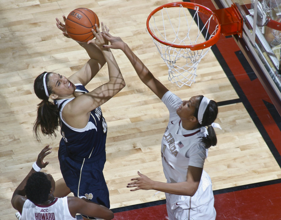 Photo - Notre Dame forward Taya Reimer (12) is fouled on a layup attempt by Florida State guard Morgan Jones (1) in the first half of an NCAA college basketball game, Thursday, Feb. 6, 2014, in Tallahassee, Fla. (AP Photo/Phil Sears)