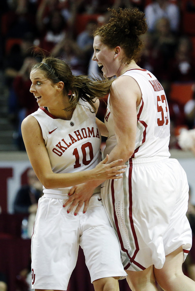 Oklahoma's Morgan Hook (10) and Joanna McFarland (53) celebrate a score against Oklahoma State during their NCAA college basketball game, Sunday, Feb. 10, 2013, in Norman, Okla. (AP Photo/The Oklahoman, Sarah Phipps) LOCAL TV OUT (KFOR, KOCO, KWTV, KOKH, KAUT OUT); LOCAL INTERNET OUT; LOCAL PRINT OUT (EDMOND SUN OUT, OKLAHOMA GAZETTE OUT) TABLOIDS OUT ORG XMIT: OKOKL202
