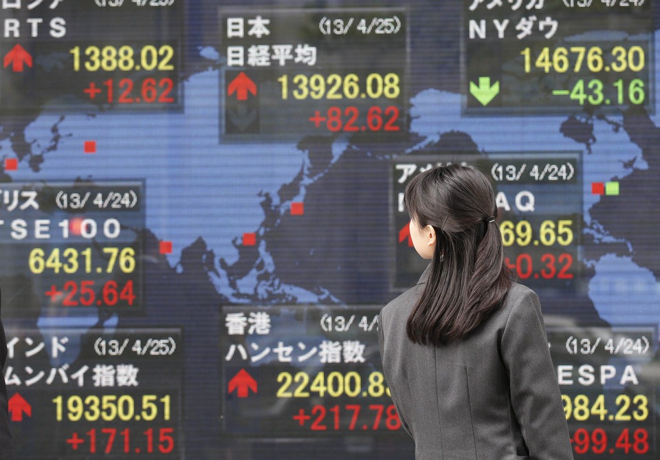 Photo - A woman look at an electronic stock board of a securities firm in Tokyo, Thursday, April 25, 2013. Asian stocks rose Thursday as mixed U.S. corporate earnings and a slump in orders for U.S. durable goods convinced investors that central banks would continue efforts to help the global economic recovery. Japan's Nikkei 225 rose 0.5 percent to 13,909.40. (AP Photo/Koji Sasahara)