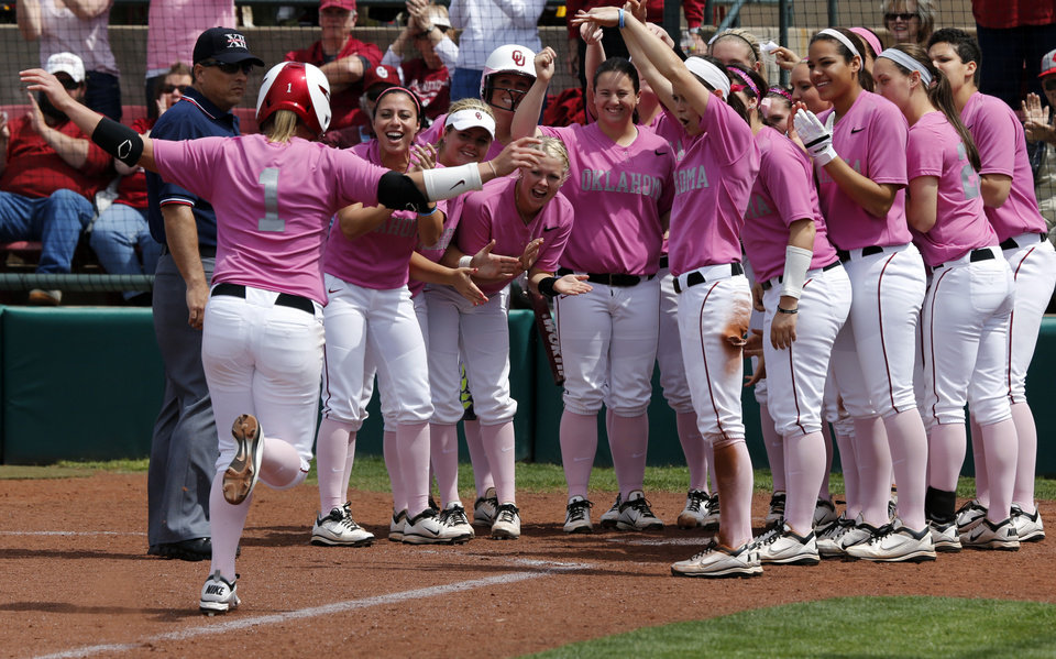 Shelby Pendley is greated at home after her home run as the University of Oklahoma (OU) Sooners play the Baylor Bears in NCAA college softball at Marita Hines Field on Saturday, April 6, 2013  in Norman, Okla. Photo by Steve Sisney, The Oklahoman