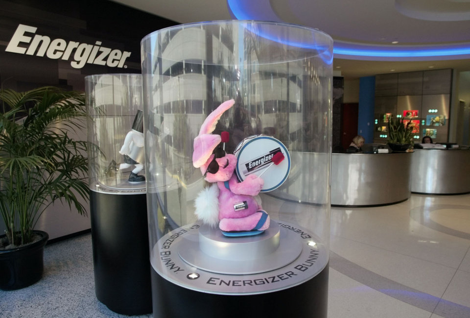 A revolving stuffed Energizer bunny greets visitors to Energizers world headquarters in St. Louis.  AP File Photo  <strong>TOM GANNAM -  AP </strong>