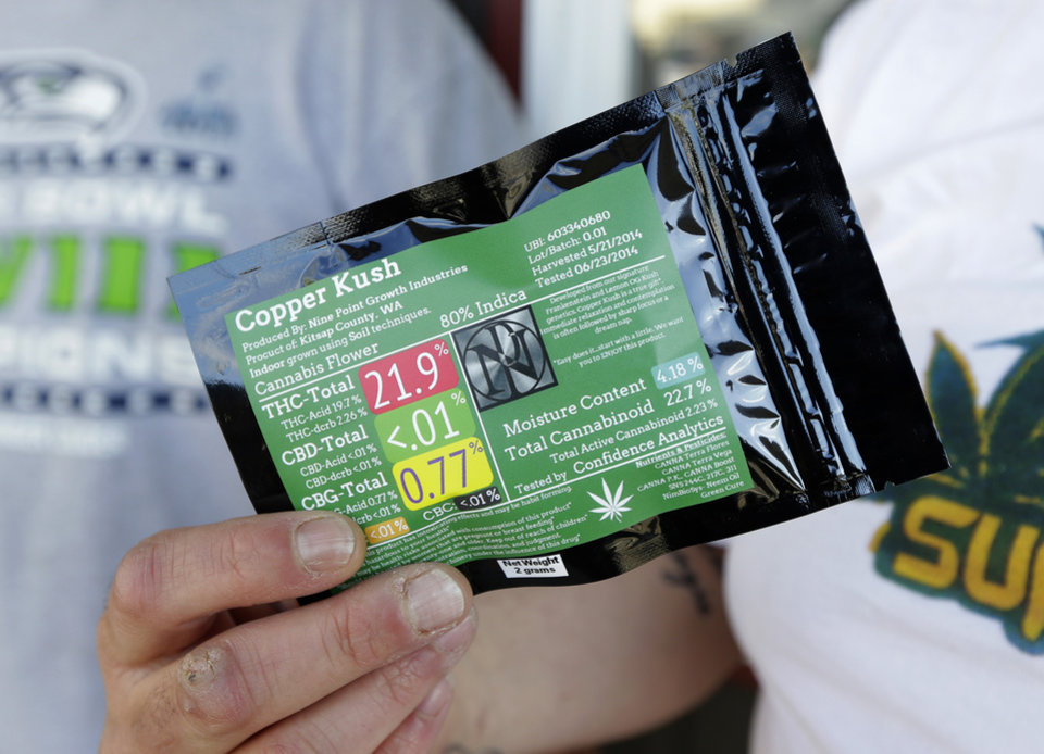 Photo - Julian Rodriguez, of Everson, Wash., holds his two-gram packet of recreational marijuana outside Top Shelf Cannabis, Tuesday, July 8, 2014, in Bellingham, Wash., on the first day of legal sales in the state. (AP Photo/Ted S. Warren)