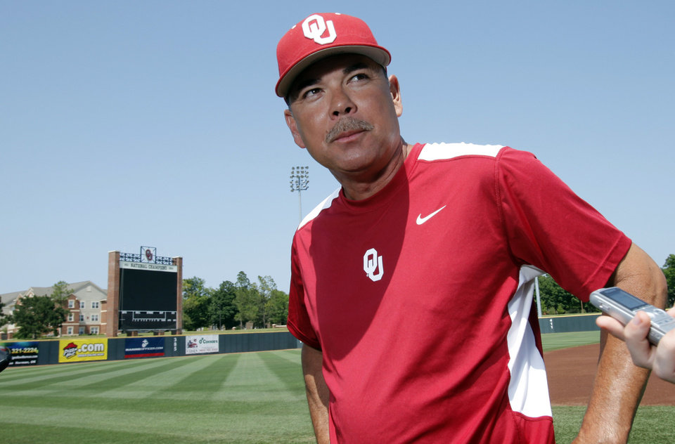 Photo - Head coach Sunny Golloway speaks with the media as the University of Oklahoma Sooner (OU) baseball team prepares to leave for Virginia for the first round of the NCAA baseball tournament on Tuesday, May 29, 2012, in Norman, Okla.  Photo by Steve Sisney, The Oklahoman