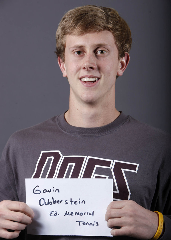 Photo - Gavin Dubberstein, Edmond Memorial tennis, poses for a mug during the spring high school sports photo day at the Oklahoman in Oklahoma City, Wednesday, Feb. 16 , 2010.  Photo by Sarah Phipps, The Oklahoman.  ORG XMIT: KOD