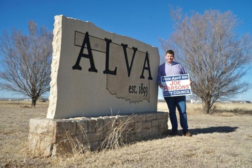 Photo -  Alva City Council candidate Joe Parsons, 18, is also a student at Alva High School. [Jordan Green for The Oklahoman]