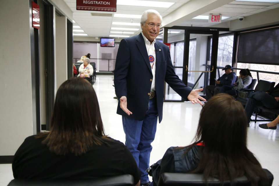 Photo - Principal Chief of the Cherokee Nation Bill John Baker stops to chat with visitors while touring the Cherokee Nation W.W. Hastings Hospital in Tahlequah, Okla., taken on March 1, 2016. Cherokee Nation is building new multimillion-dollar tribal health-care center in a partnership with the federal government with feds providing at least $80 million a year for 20 years or longer. JAMES GIBBARD/Tulsa World