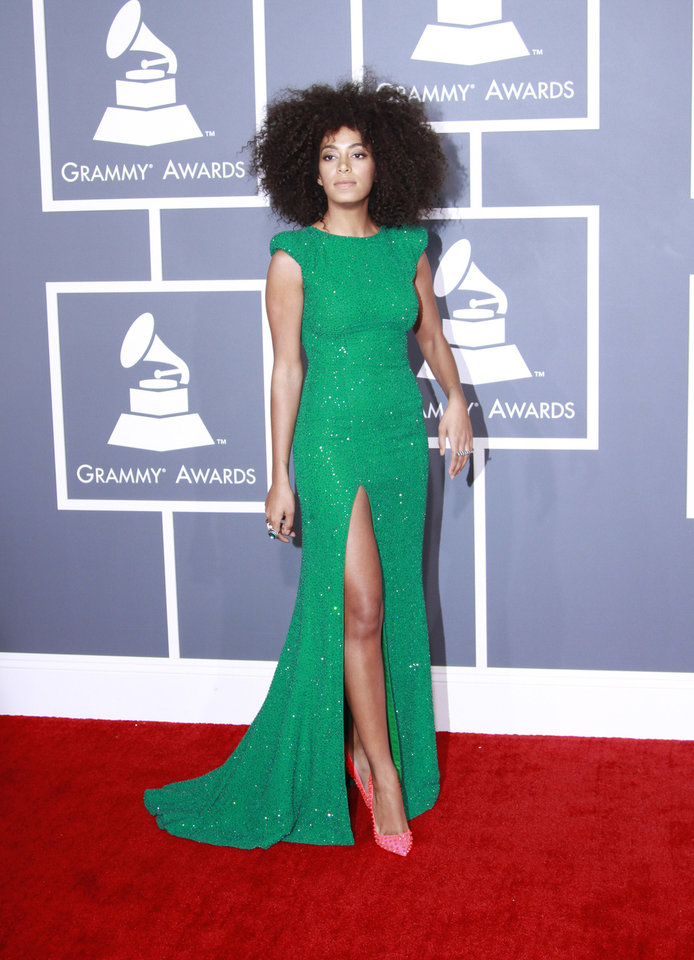 Solange Knowles arrives for the 55th Annual Grammy Awards at Staples Center in Los Angeles, California, on Sunday, February 10, 2013. (Kirk McKoy/Los Angeles Times/MCT)