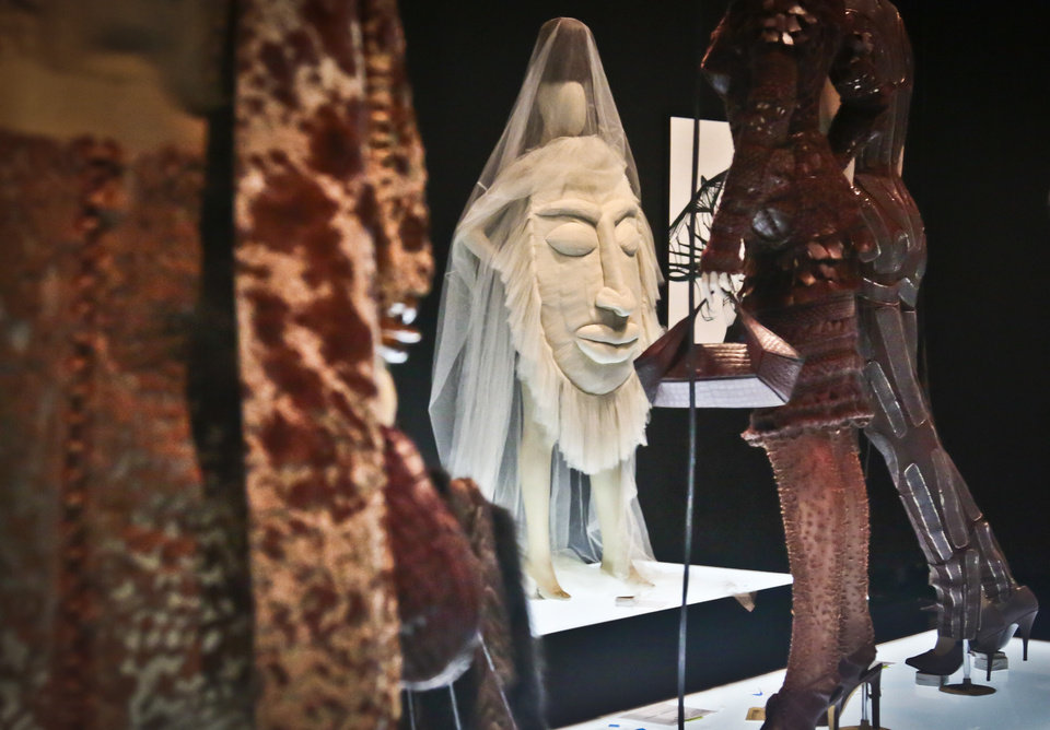 Photo - Designs from Jean Paul Gaultier's Africa collection, is previewed during the installation of Brooklyn Museum's