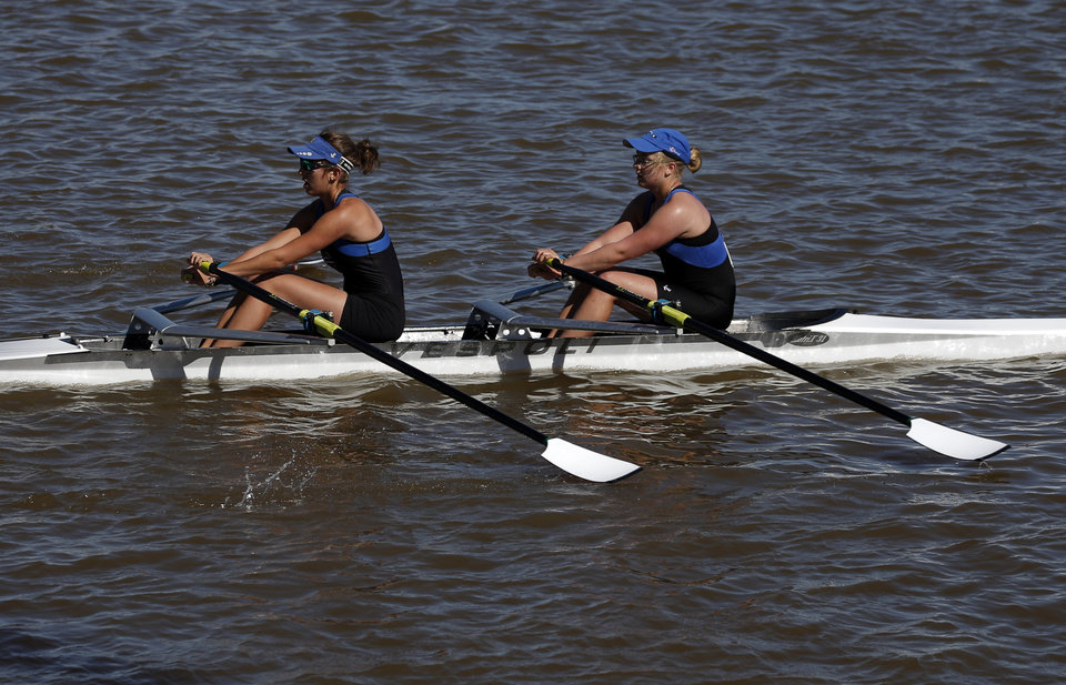 Photo - Mile High A competes on the Oklahoma River during OCU Head of the Oklahoma & USRowing Masters National Head Race Championships, Sunday, Oct. 6, 2013, in Oklahoma City. Photo by Sarah Phipps, The Oklahoman
