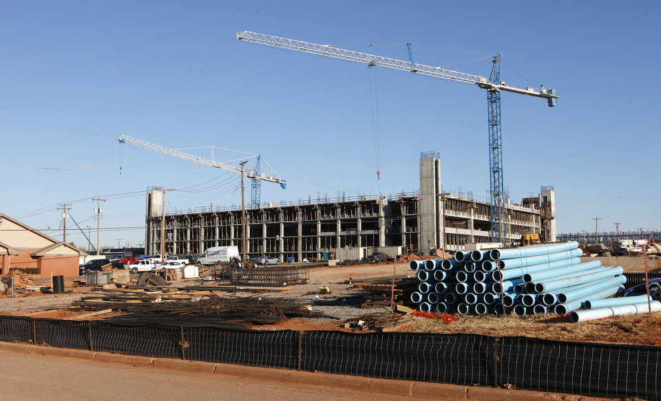 Photo - Construction on the Chesapeake campus near NW 58 Street and Shartel in Oklahoma City.