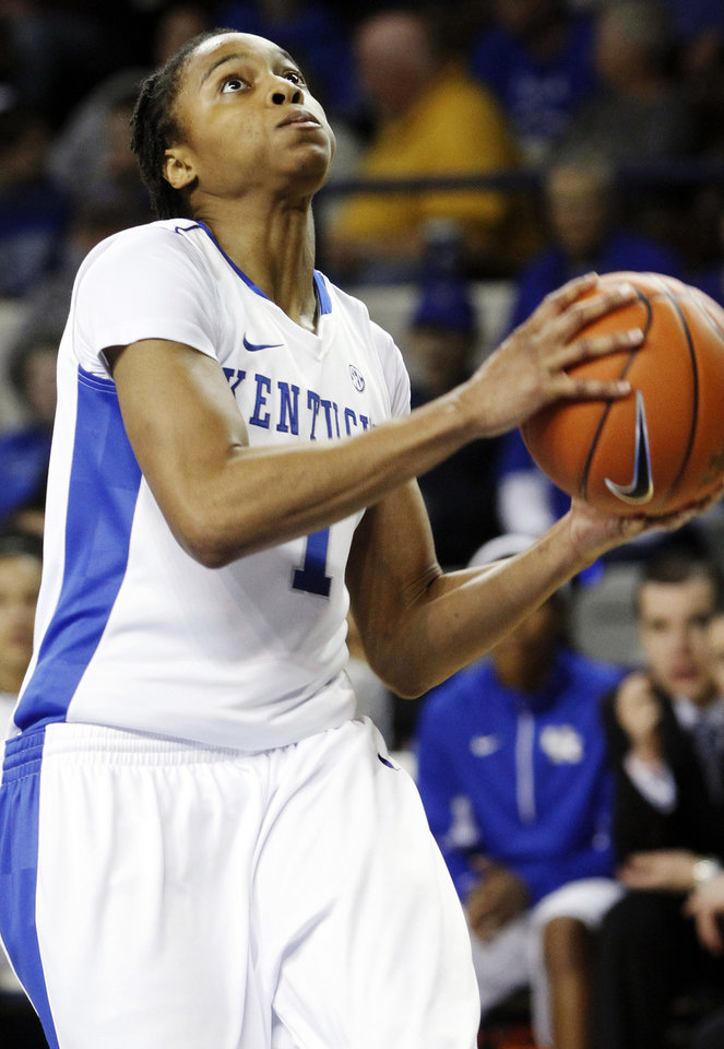 Photo - Kentucky's A'dia Mathies drives to the basket during the second half of an NCAA college basketball game against South Carolina Upstate at Memorial Coliseum in Lexington, Ky., Sunday, Nov. 25, 2012. Kentucky won 100-34. (AP Photo/James Crisp)