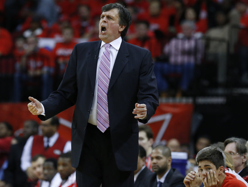 Photo - Houston coach Kevin McHale reacts during Game 6 in the first round of the NBA playoffs between the Oklahoma City Thunder and the Houston Rockets at the Toyota Center in Houston, Texas, Friday, May 3, 2013. Oklahoma City won 103-94. Photo by Bryan Terry, The Oklahoman