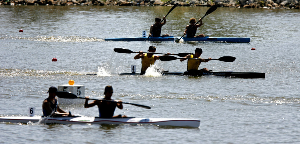 Teams compete in the USA Canoe/Kayak Sprint National Championships on the Oklahoma River in Oklahoma City, Saturday, August 28, 2010.  Photo by Bryan Terry, The Oklahoman