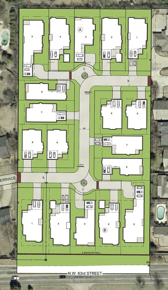 This drawing shows where 18 houses would have been in an addition rejected last year by the Nichols Hills City Council on land where now the less-dense Glenbrook Park is under way by different developers.