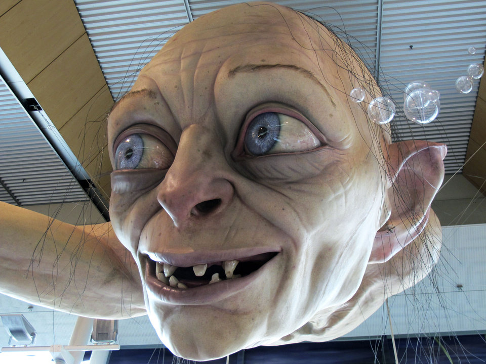 In this photo taken Saturday, Nov. 24, 2012, a giant sculpture of Gollum, a character from