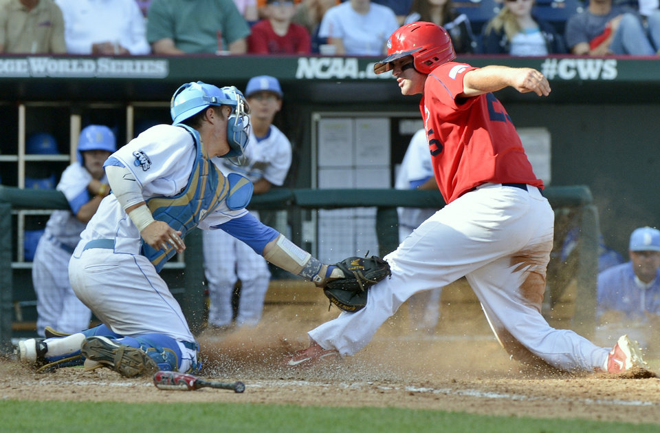 Photo -   Stony Brook's Kevin Courtney, right, is tagged out at home plate by UCLA catcher Tyler Heineman on a double play hit into by Stony Brook batter Travis Jankowski in the fifth inning of an NCAA College World Series baseball game in Omaha, Neb., Friday, June 15, 2012. (AP Photo/Ted Kirk)