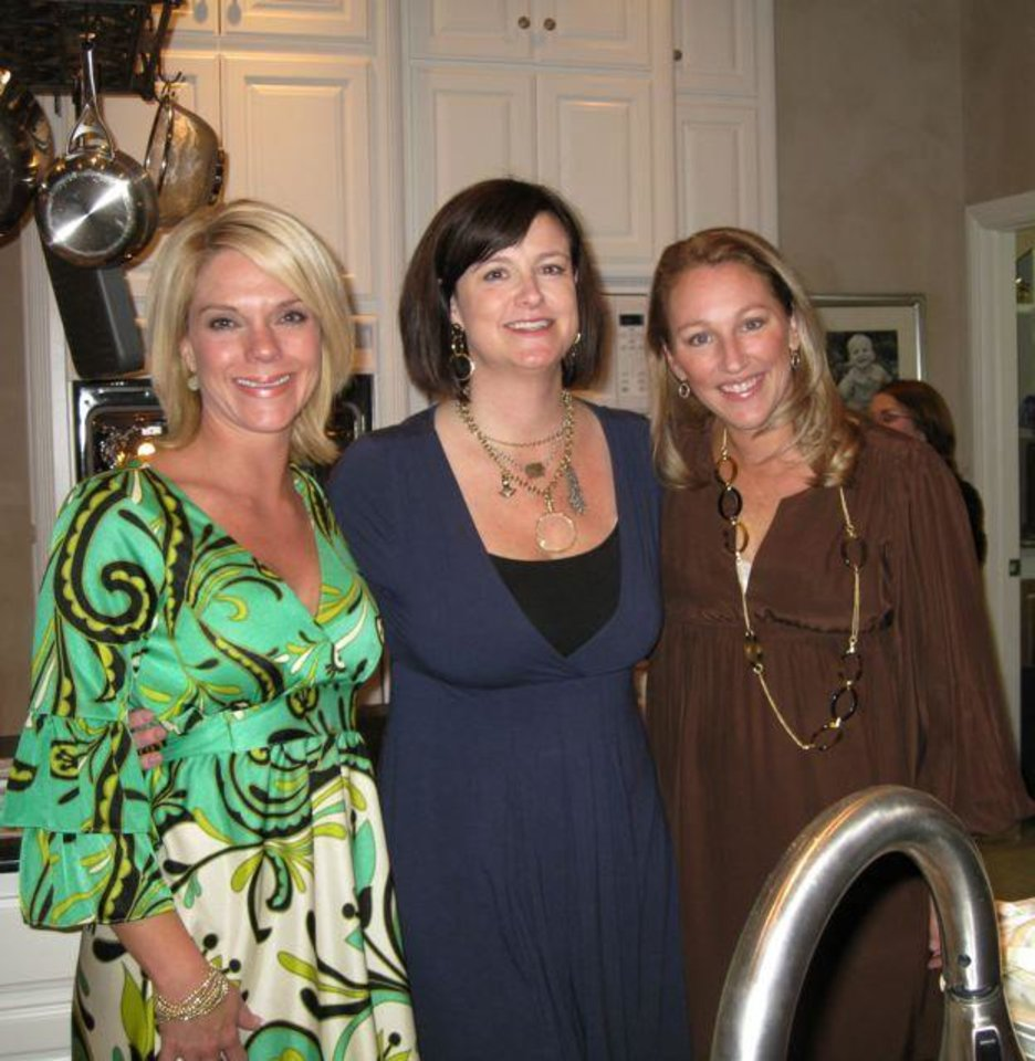 COUPLES' SHOWER...Sarah Wienecke, Hilarie Stone and Jenny Chansolme  were in the host group. (Photo by Helen Ford Wallace).