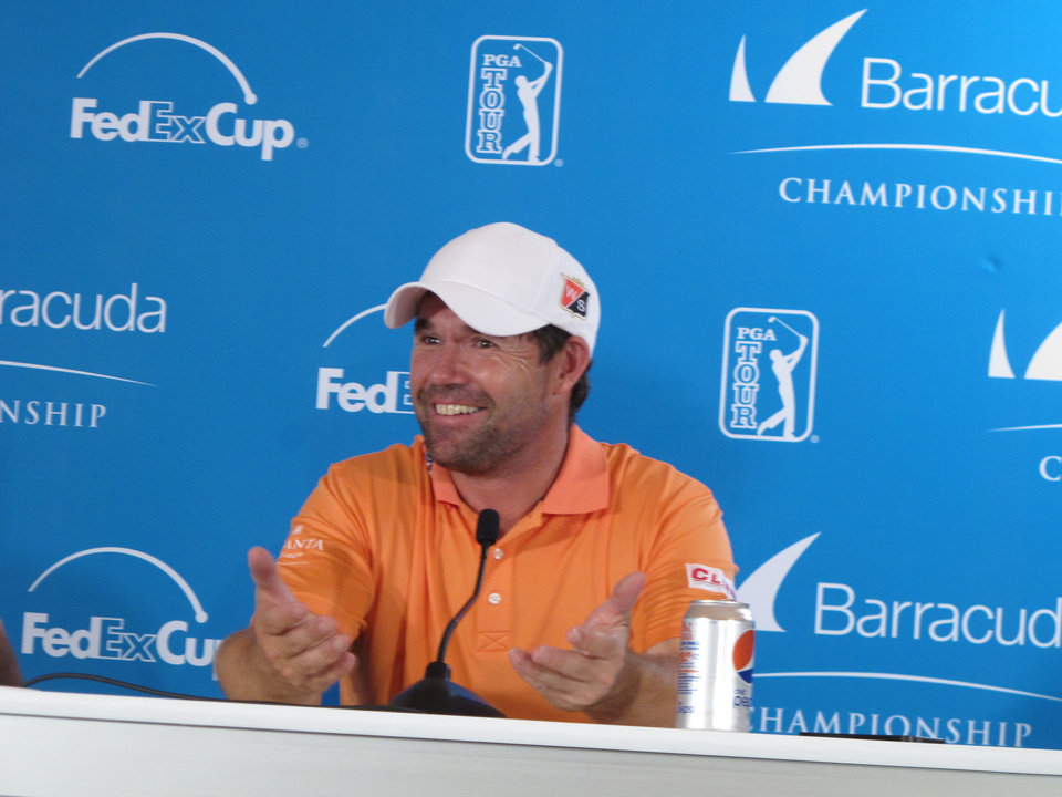 Photo - Padraig Harrington talks to reporters at Montreux Golf & Country Club in Reno following his round in the pro-am Wednesday, July 30, 2014, in preparation for the PGA Tour's Barracuda Championship, formerly known as the Reno-Tahoe Open. (AP Photo/Scott Sonner)