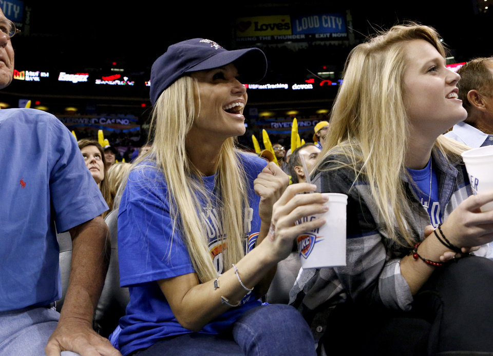Photo - Kristin Chenoweth  watches during an NBA basketball game between the Oklahoma City Thunder and the Los Angeles Clippers at Chesapeake Energy Arena in Oklahoma City, Wednesday, Nov. 21, 2012. Photo by Bryan Terry, The Oklahoman