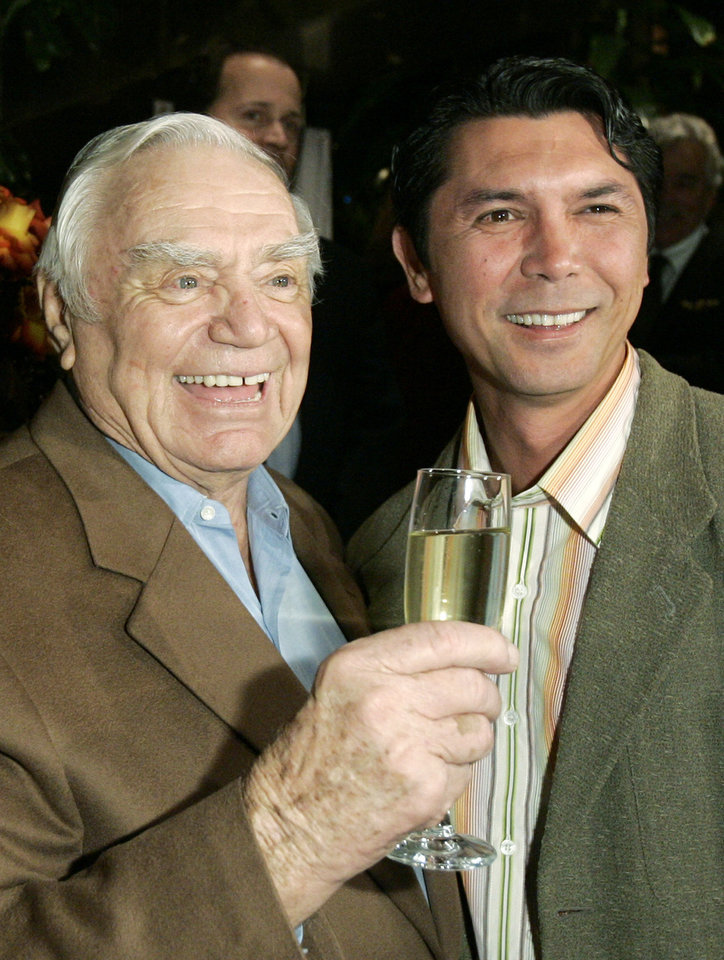 Photo - Actor Ernest Borgnine, left, is joined by actor Lou Diamond Phillips during Borgnine's 90th birthday party at a restaurant in Los Angeles, Wednesday, Jan. 24, 2007. (AP Photo/Kevork Djansezian) ORG XMIT: KSD106