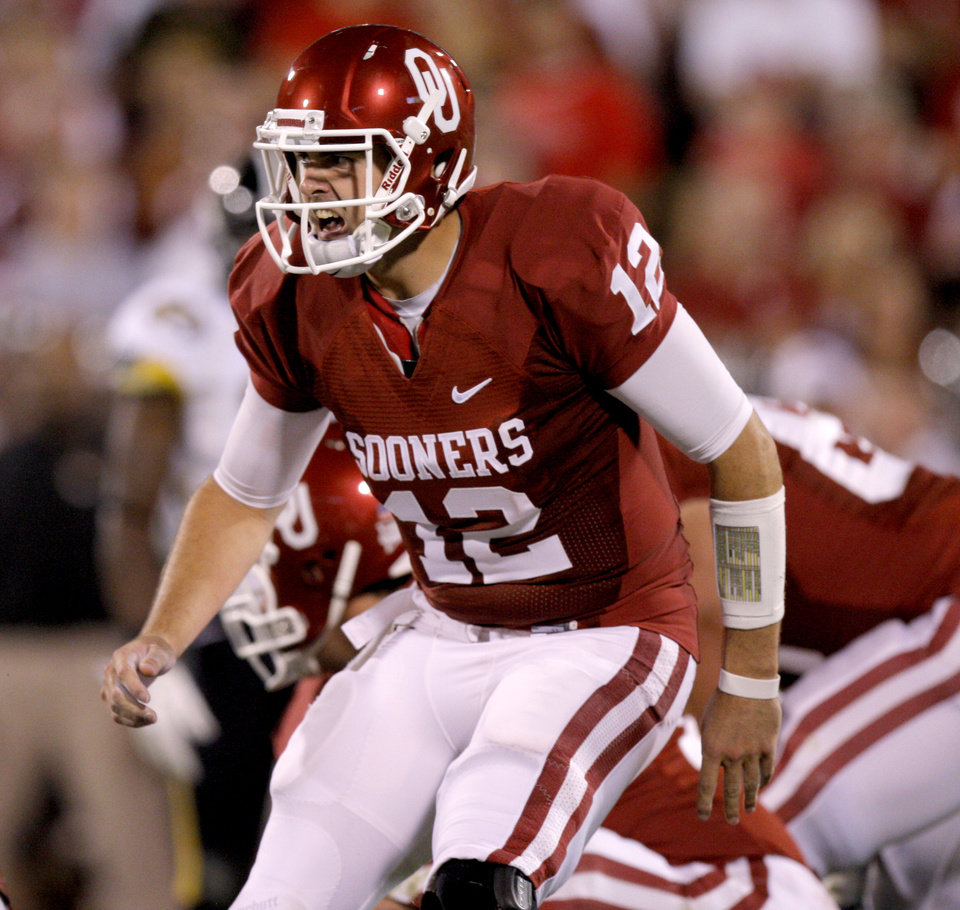 Oklahoma's Landry Jones (12) shouts out a play during the college football game between the University of Oklahoma Sooners (OU) and the University of Missouri Tigers (MU) at the Gaylord Family-Memorial Stadium on Saturday, Sept. 24, 2011, in Norman, Okla. Photo by Bryan Terry, The Oklahoman