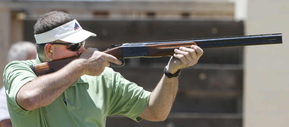 Mike Williams with Ringling, schools  shoots trap during the Oklahoma Wildlife Department's Scholastic Shooting Program at the OKC Gun Club in Oklahoma City, Thursday June 11, 2013. Photo By Steve Gooch, The Oklahoman
