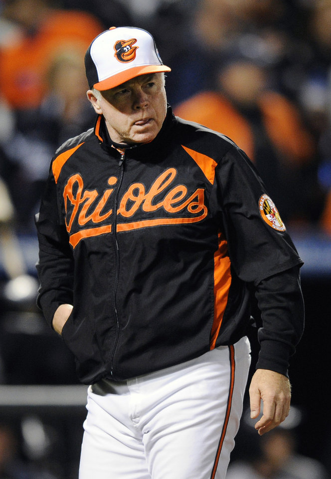 Baltimore Orioles manager Buck Showalter walks off the field after arguing a call in the first inning of Game 2 of the American League division baseball series against the New York Yankees on Monday, Oct. 8, 2012, in Baltimore. (AP Photo/Nick Wass)