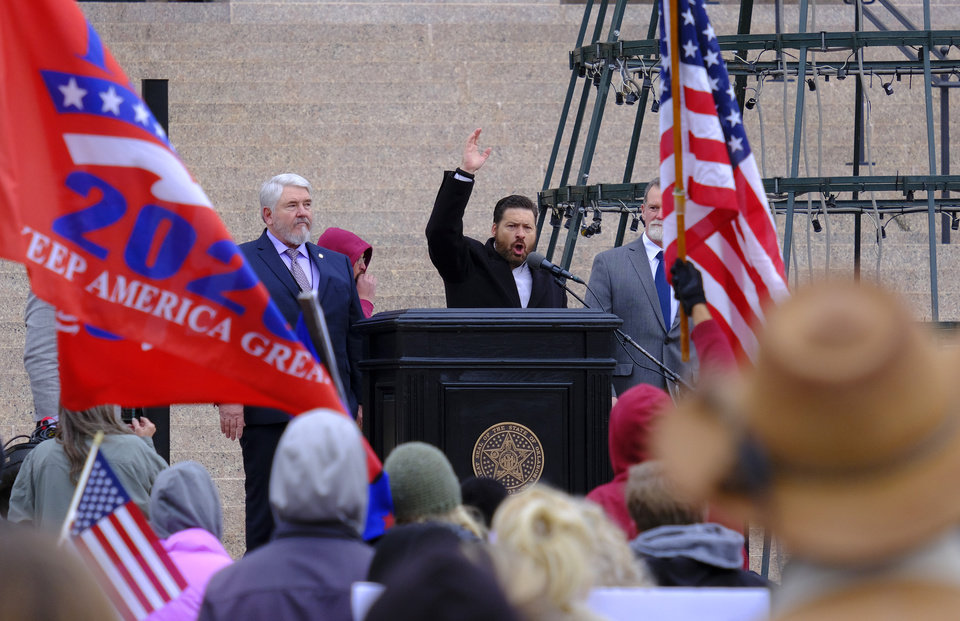 Photo - Oklahoma State Sen. Shane Jett. Supporters of Pres. Donald Trump gathered at the Drive for 45 rally on the south plaza at the Capitol Wednesday, January 6, 2021. [Doug Hoke/The Oklahoman]