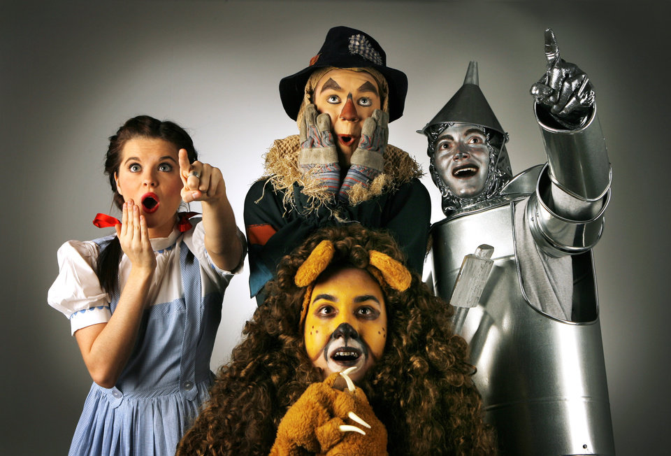 Maggie Baker as Dorothy, Max Robertson as Scarecrow, Nathan Holliday as Tin Man and Chris Countryman as the Cowardly Lion in Putnam City West production of The Wizard of Oz, Friday, February 22, 2008, by DAVID MCDANIEL, THE OKLAHOMAN