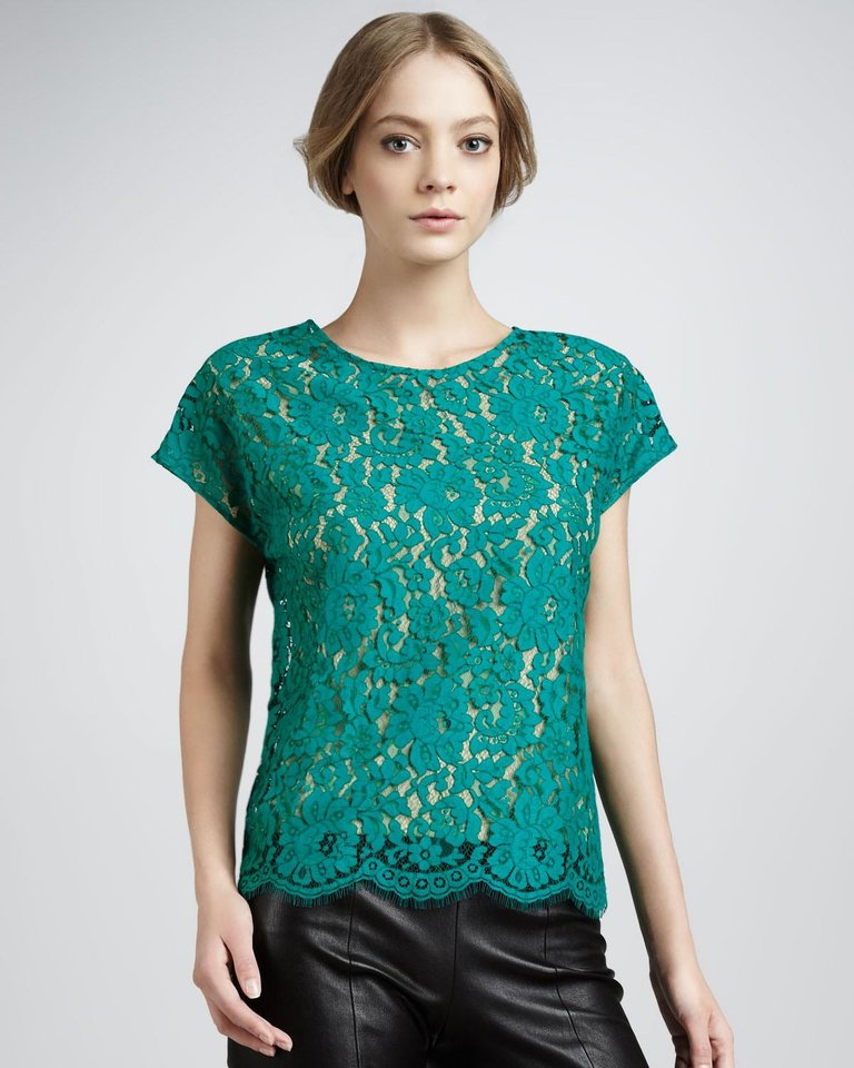 Photo - After color authority Pantone named emerald the official color of 2013, the green tone began popping up on runways and in stores everywhere. Here, Robert Rodriguez lace tee, $92, NeimanMarcus.com. (Courtesy NeimanMarcus.com via Los Angeles Times/MCT)
