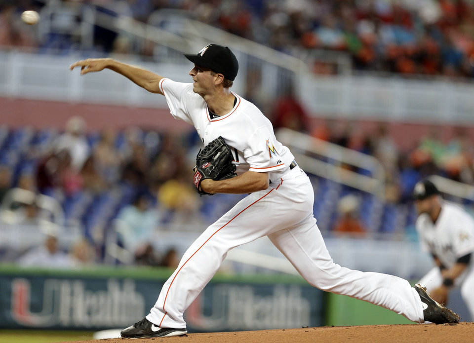 Photo - Miami Marlins starting pitcher Jacob Turner throws during the first inning of a baseball game against the Colorado Rockies, Thursday, April 3, 2014, in Miami. (AP Photo/Lynne Sladky)