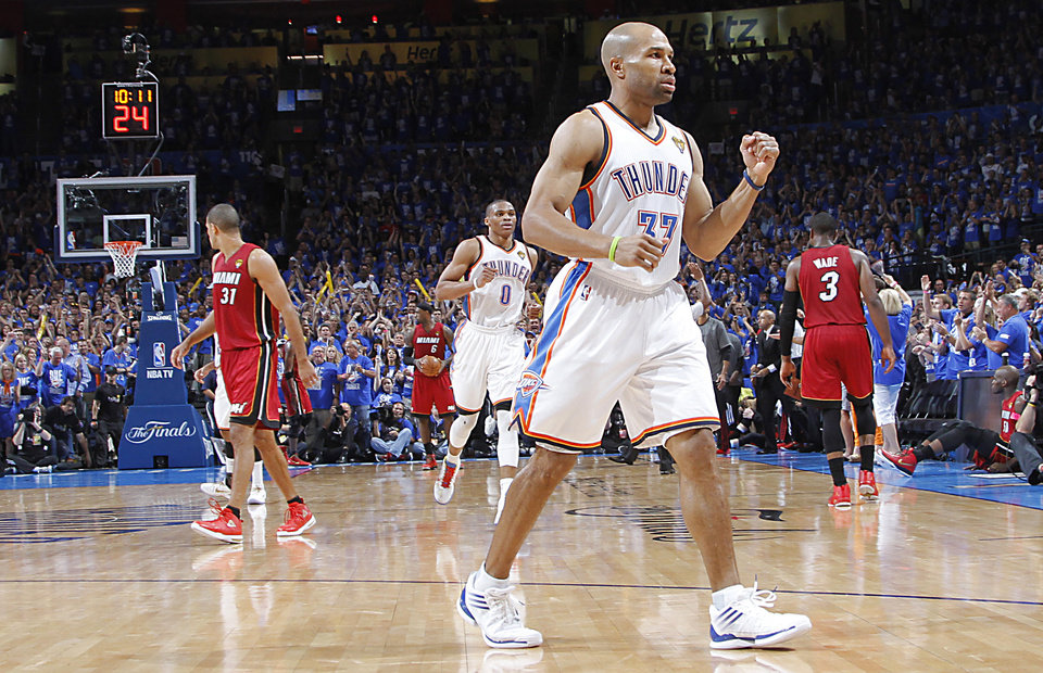 NBA BASKETBALL / REACTION: Oklahoma City\'s Derek Fisher (37) reacts after hitting a shot during Game 1 of the NBA Finals between the Oklahoma City Thunder and the Miami Heat at Chesapeake Energy Arena in Oklahoma City, Tuesday, June 12, 2012. PHOTO BY CHRIS LANDSBERGER, The Oklahoman