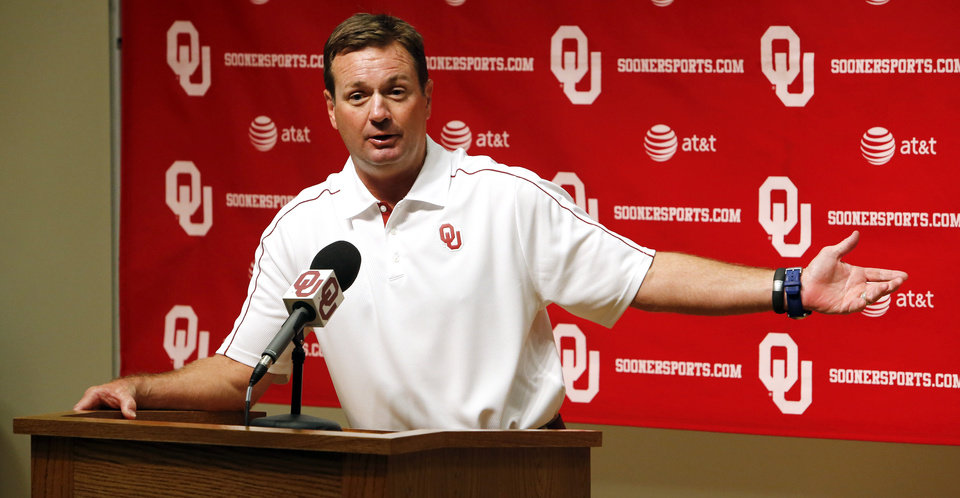 OU COLLEGE FOOTBALL: Head coach Bob Stoops speaks with the media during the Meet the Sooners event at the University of Oklahoma on Saturday, Aug. 4, 2012, in Norman, Okla.  Photo by Steve Sisney, The Oklahoman