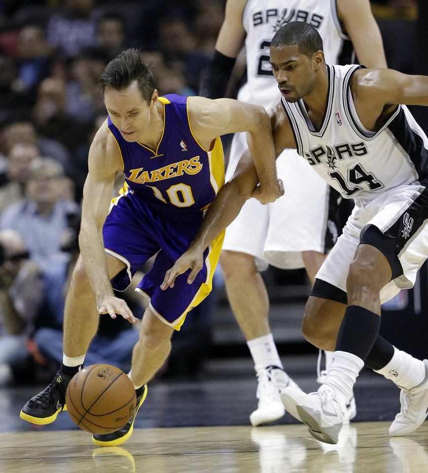 Los Angeles Lakers' Steve Nash, left, and San Antonio Spurs' Gary Neal (14) chase a loose ball during the second quarter of an NBA basketball game on Wednesday, Jan. 9, 2013, in San Antonio. (AP Photo/Eric Gay)
