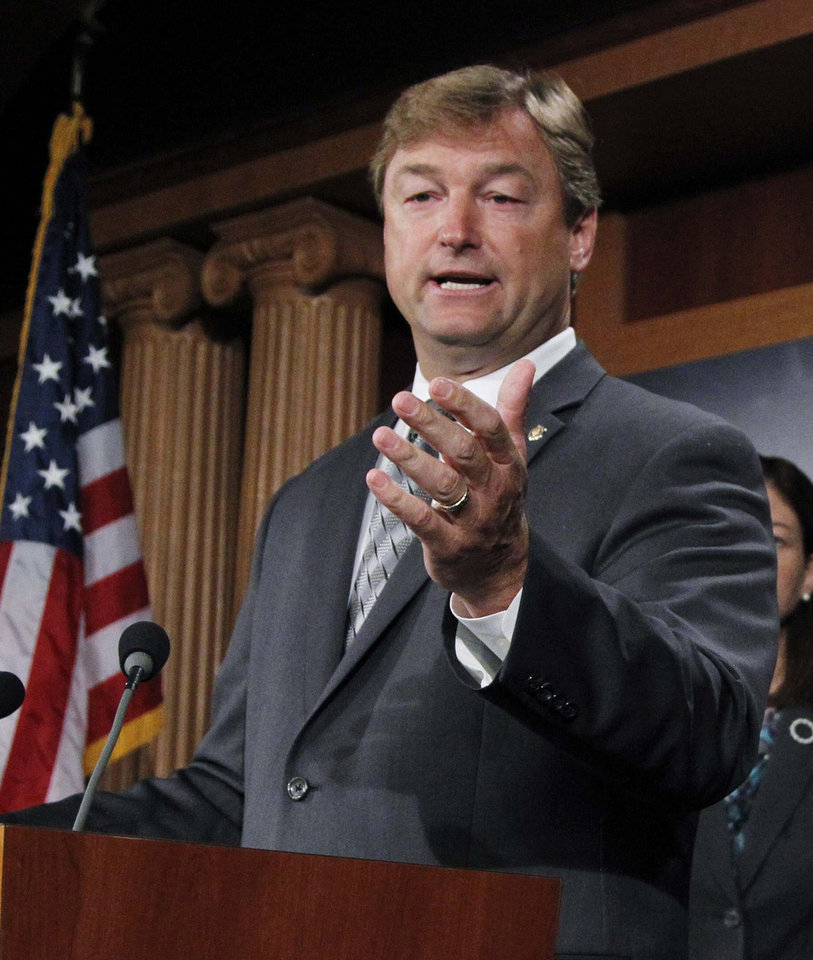"Photo - FILE - In this Sept. 8, 2011, file photo, Sen. Dean Heller, R-Nev., speaks during a news conference on Capitol Hill in Washington. Major gay rights legislation is set to clear the first hurdle in the U. S Senate Monday. Republican Sen. Dean Heller of Nevada announced his support on Monday, saying in a statement that the measure ""raises the federal standards to match what we have come to expect in Nevada, which is that discrimination must not be tolerated under any circumstance."" (AP Photo/Manuel Balce Ceneta, File)"