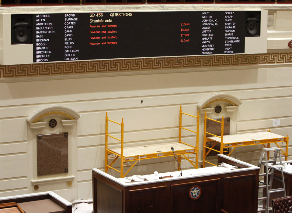This is  the new bill and vote display board that was just installed in the Senate Chambers in the Oklahoma State Capitol in Oklahoma City, OK, Friday, December 7, 2012,  By Paul Hellstern, The Oklahoman