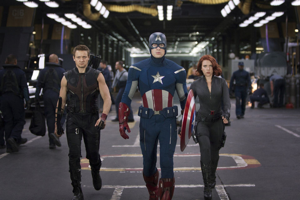 "From left, Hawkeye (Jeremy Renner), Captain America (Chris Evans) & Black Widow (Scarlett Johansson) appear in a scene from ""The Avengers."" Walt Disney Pictures photo. <strong>Zade Rosenthal</strong>"