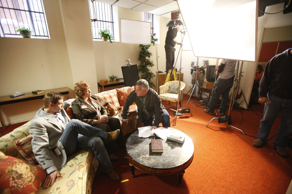 Photo - FILM: Actors Mike Vogel and Marilyn McIntyre talk with director Paul Brown on the set of