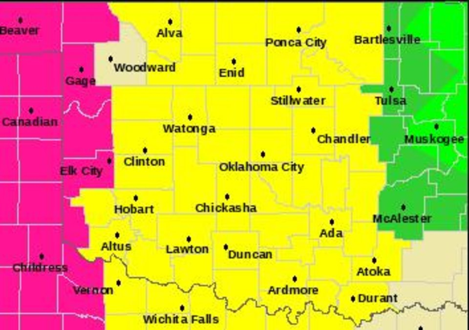 Photo - Counties in yellow are under a tornado watch until 10 p.m.