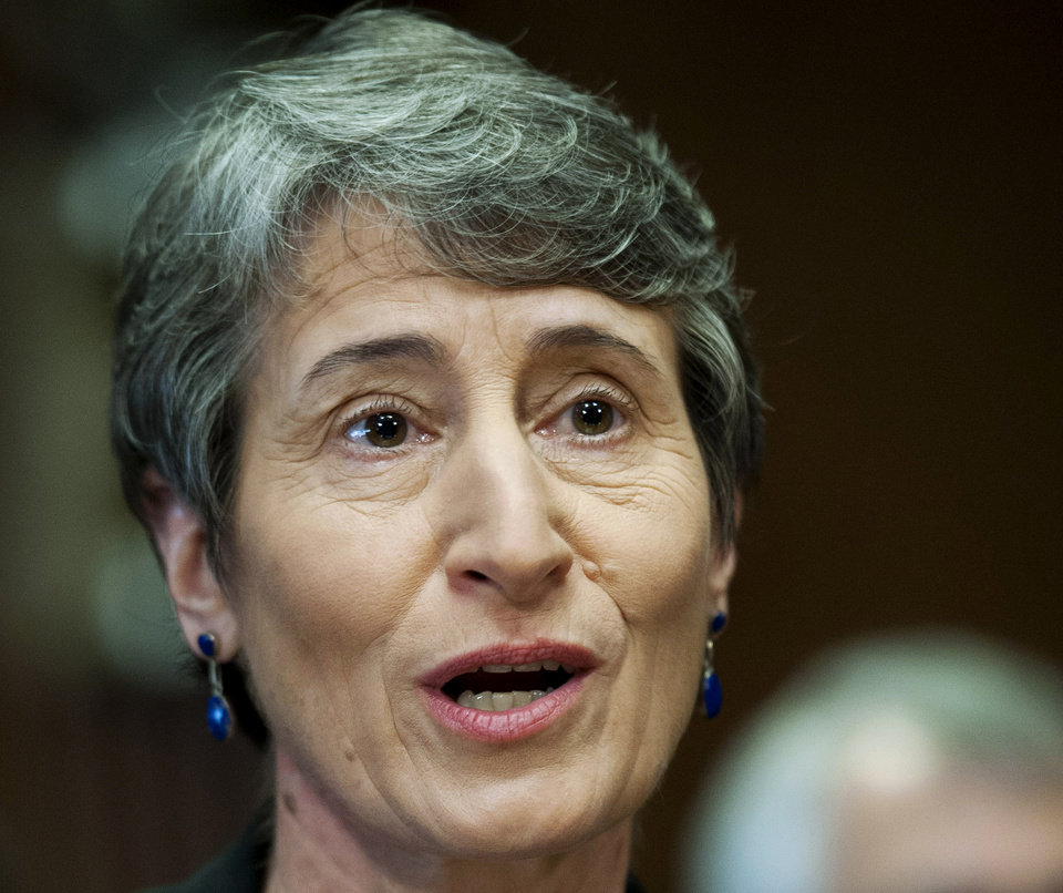 FILE - In this March 7, 2013 file photo, then-Interior Secretary nominee Sally Jewell testifies on Capitol Hill in Washington. The Obama administration is proposing a rule that would require companies that drill for oil and natural gas on federal lands to publicly disclose chemicals used in hydraulic fracturing operations. The new