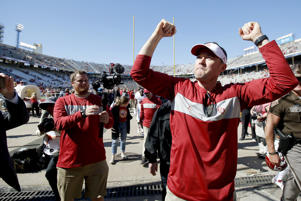Record - Oklahoma coach Lincoln Riley celebrates after the Crimson River Showdown college football sport between the University of Oklahoma Sooners (OU) and the Texas Longhorns (UT) at Cotton Bowl Stadium in Dallas, Saturday, Oct. 12, 2019. Oklahoma gained 34-27. [Bryan Terry/The Oklahoman]