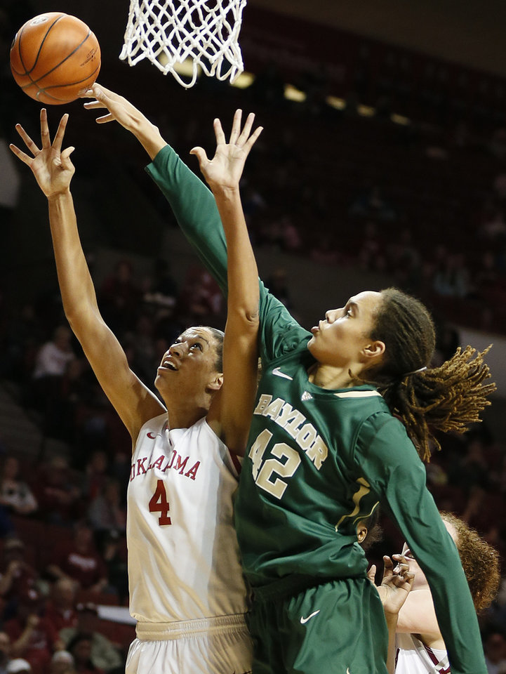 Baylor\'s Brittney Griner (42) blocks the shot of Oklahoma\'s Nicole Griffin (4) during a women\'s college basketball game between the University of Oklahoma (OU) and Baylor at the Lloyd Noble Center in Norman, Okla., Monday, Feb. 25, 2013. Photo by Nate Billings, The Oklahoman