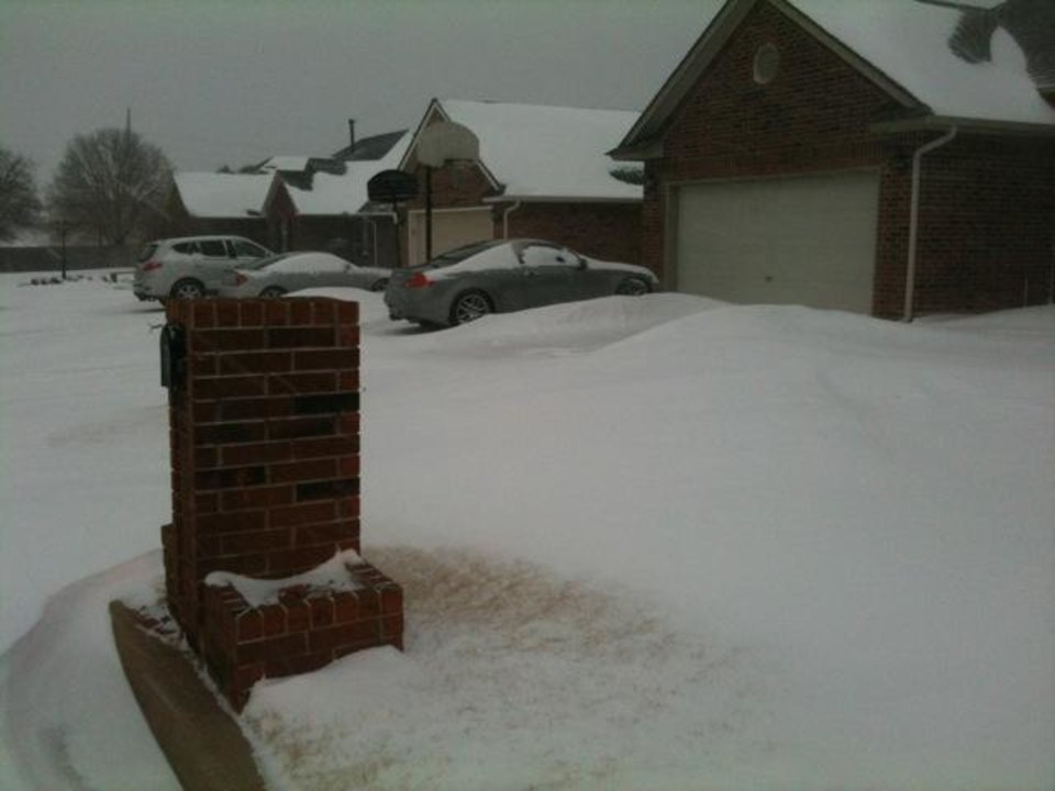 Photo - Snow drifts in Midwest City. Photo by Jim Beckel
