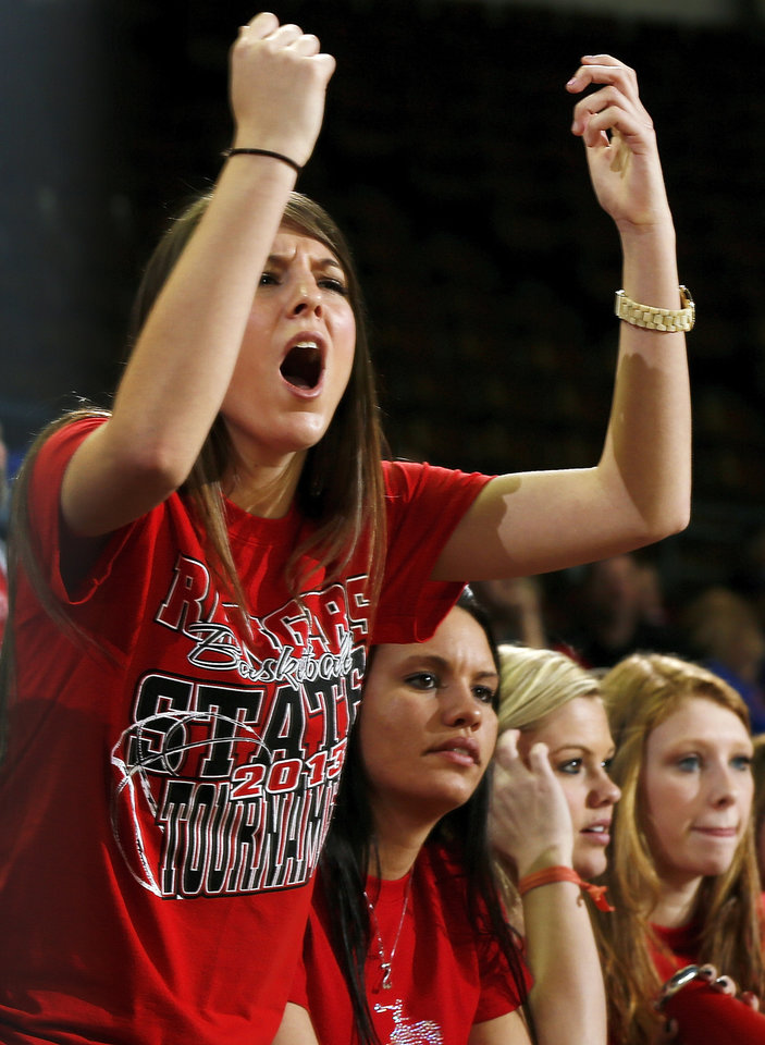 Big Pasture graduate Meredith Lucus reacts to a call during a Class B Boys first-round game of the state high school basketball tournament between Moyers and Big Pasture  at Jim Norick Arena, The Big House, on State Fair Park in Oklahoma City, Thursday, Feb. 28, 2013. Big Pasture won, 66-64. Photo by Nate Billings, The Oklahoman
